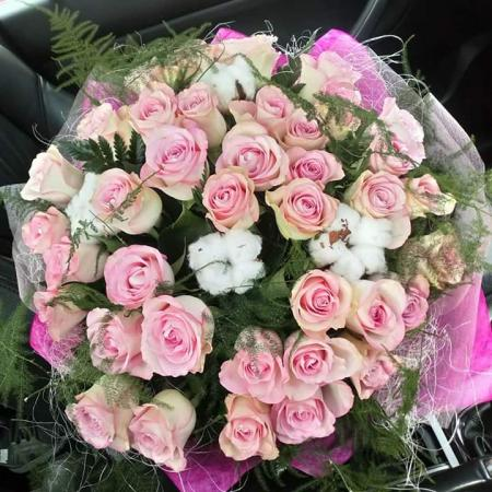 Pink Rose & Cotton Hand Tied