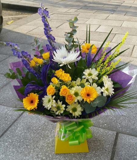 Aconitum & Yellow Spray Hand Tied Bouquet