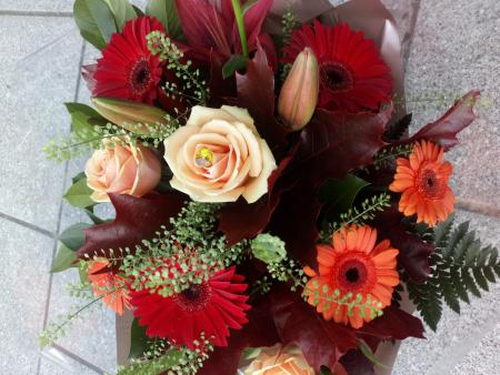 Autumn Rose & Gerbera Hand Tied