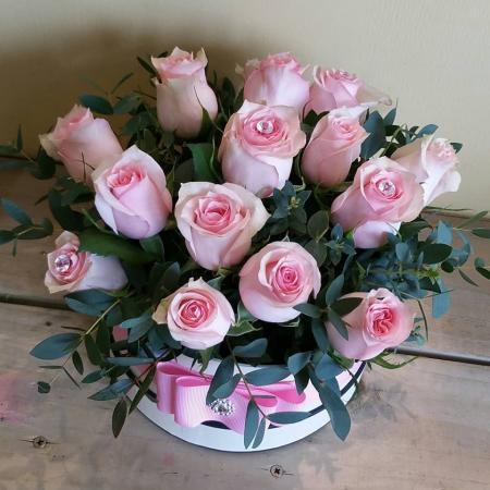 Pale Pink Rose Hat Box