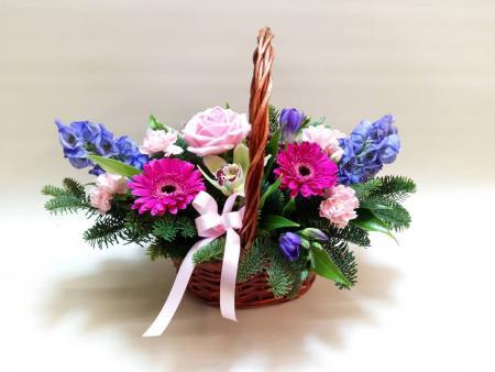 Pink & Purple Basket Arrangement